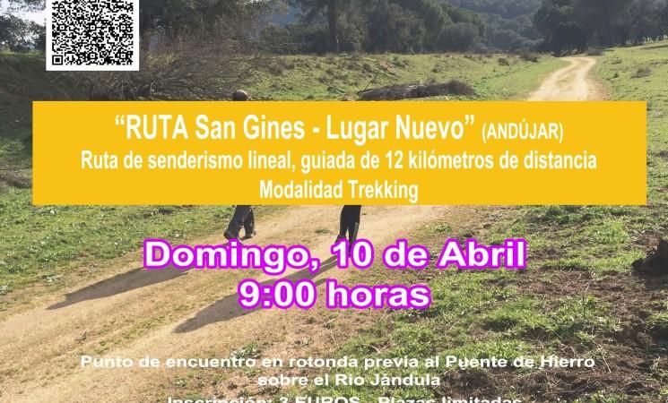 10 de Abril PRODECAM organiza una ruta de senderismo, San Ginés – Lugar Nuevo, dentro del programa PASEANDO POR LOS SENDEROS DE JAÉN 2016