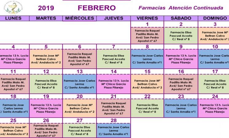 Farmacias de guardia en Mengíbar durante el mes de febrero de 2019
