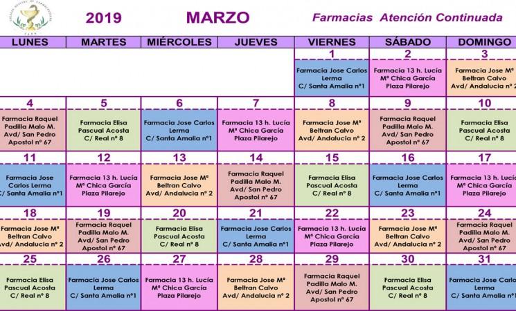 Farmacias de guardia en Mengíbar durante el mes de marzo de 2019