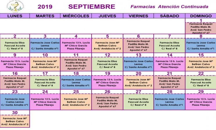 Farmacias de guardia en Mengíbar durante el mes de septiembre de 2019