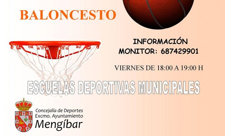 Cartel de las Escuelas Deportivas Municipales de Baloncesto de Mengíbar