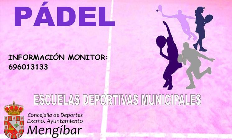 Cartel de las Escuelas Deportivas Municipales de Pádel de Mengíbar