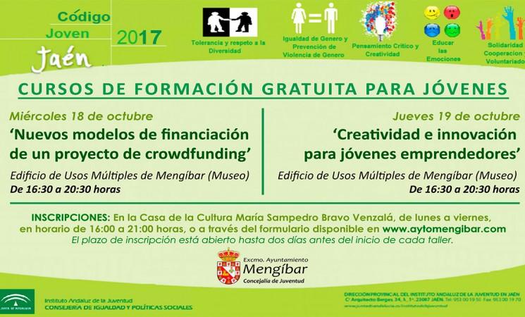 Cartel de los cursos sobre crowdfunding y creatividad e innovación emprendedora de Código Joven en Mengíbar