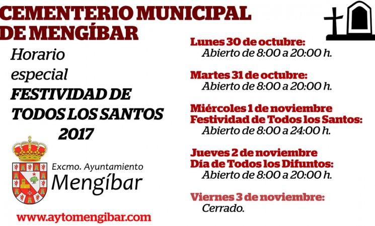 Horario especial del Cementerio de Mengíbar con motivo de la Festividad de Todos los Santos
