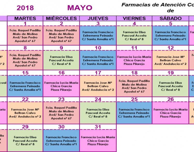 Farmacias de guardia en Mengíbar durante el mes de mayo de 2018