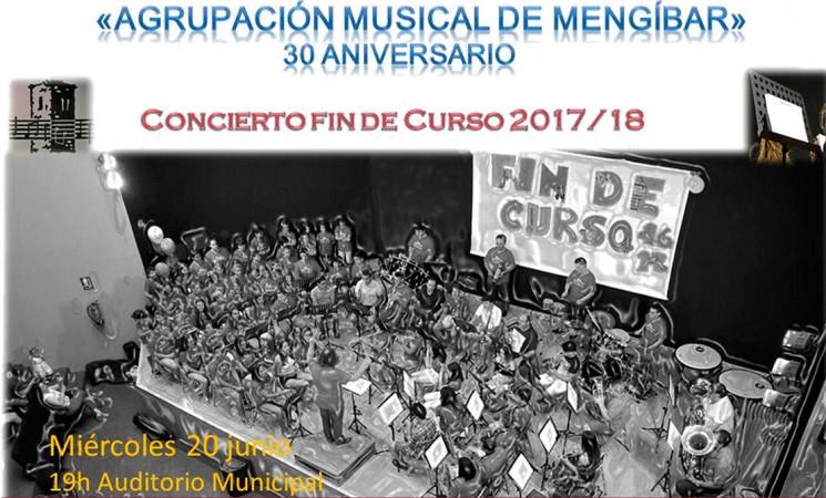 Concierto de fin de curso de la Agrupación Musical de Mengíbar el próximo miércoles 20 de junio