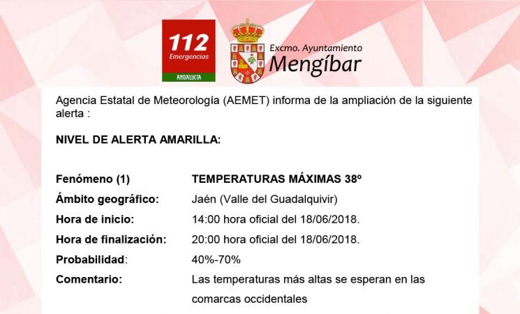 Alerta amarilla por calor en Mengíbar, con máximas previstas de hasta 38 grados, este lunes
