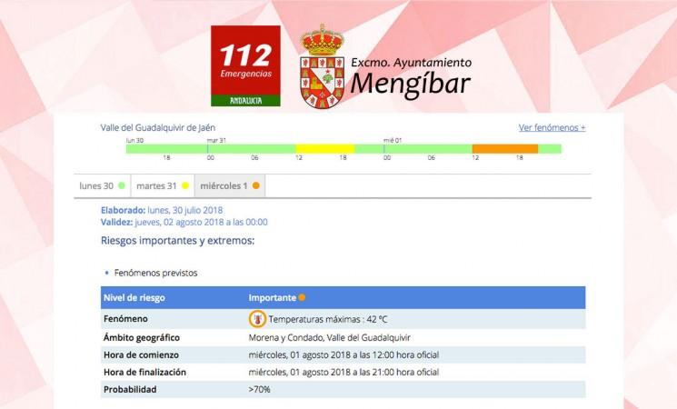 Alertas amarilla y naranja por calor en Mengíbar, con máximas de 42º, este martes y miércoles
