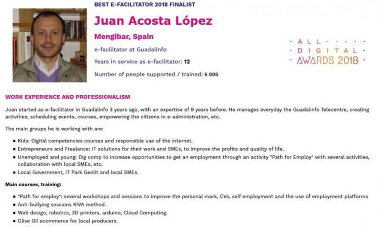 El agente de innovación local de Mengíbar, Juan Acosta, nominado como mejor dinamizador TIC de Europa