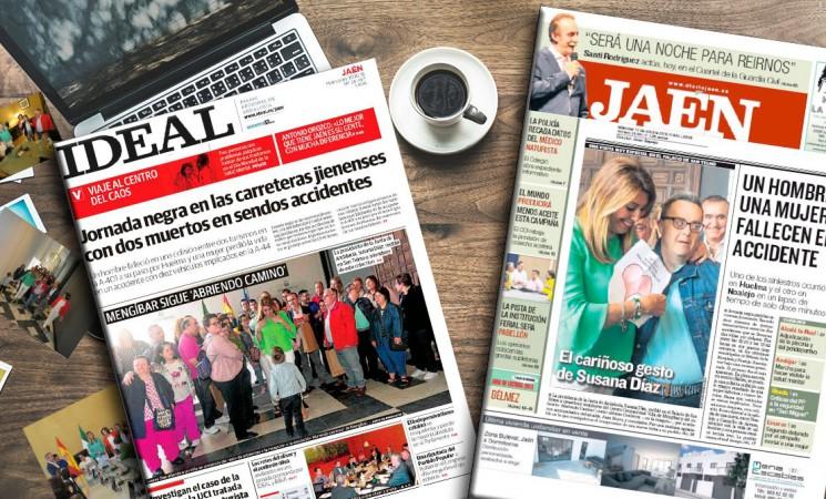 La recepción de Susana Díaz al Centro Ocupacional de Mengíbar y a Abriendo Camino, portada de la prensa jiennense
