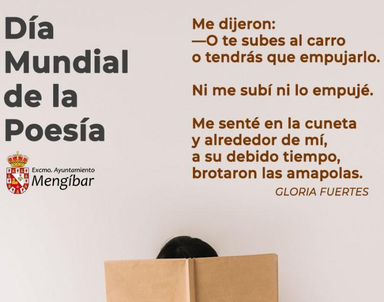 Cartel del Día Mundial de la Poesía en las redes sociales del Ayuntamiento de Mengíbar