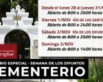 Horario especial del Cementerio Municipal de Mengíbar en la Semana de los Fieles Difuntos 2019