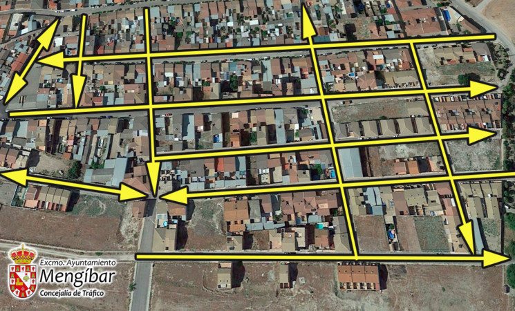 El Ayuntamiento de Mengíbar reordena el tráfico en una decena de calles entre la Corredera y el polígono San Cristóbal