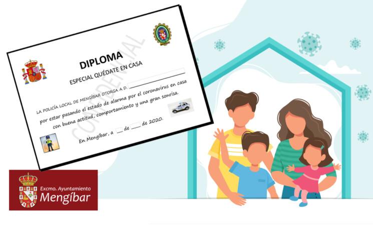 Coronavirus: Diploma de la Policía Local a los niños de Mengíbar por su comportamiento ejemplar durante el confinamiento