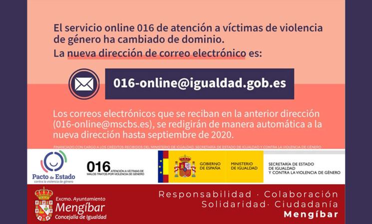Nuevo correo electrónico de atención a víctimas de violencia de género - #MengíbarContraLaViolenciaDeGénero