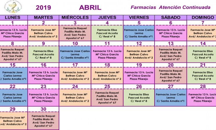 Farmacias de guardia en Mengíbar durante el mes de abril de 2019