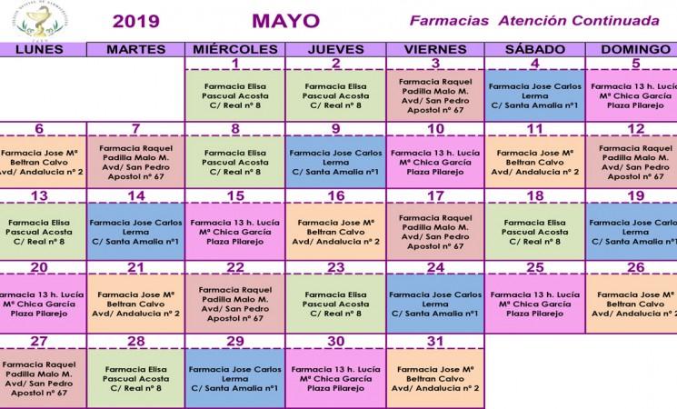 Farmacias de guardia en Mengíbar durante el mes de mayo de 2019