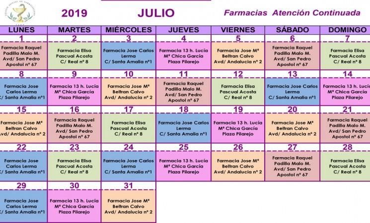 Farmacias de guardia en Mengíbar durante el mes de julio de 2019