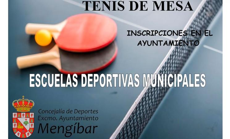 Cartel de las Escuelas Deportivas Municipales de Tenis de Mesa de Mengíbar