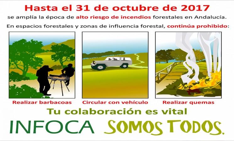 Prórroga de la prohibición del uso del fuego en espacios forestales hasta el 31 de octubre