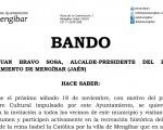 Bando para invitar a participar a todos los vecinos de Mengíbar en los actos del 18 de noviembre