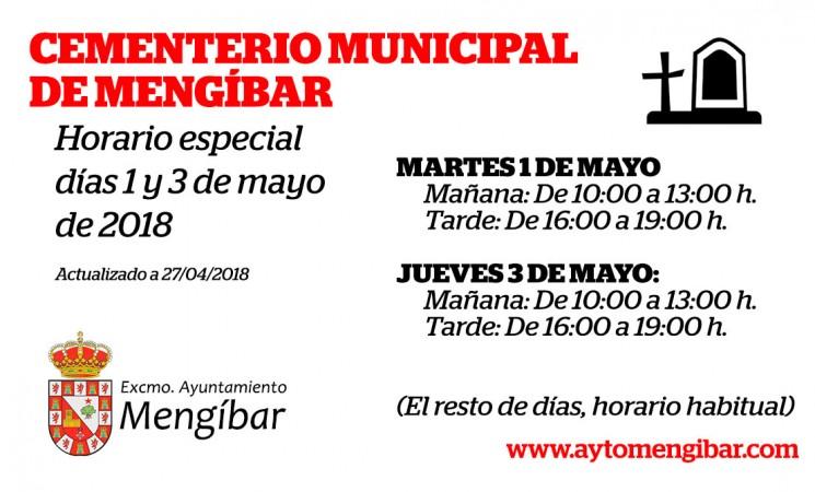 Horario especial del Cementerio de Mengíbar para los días 1 y 3 de mayo de 2018