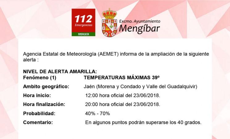 Alerta amarilla por calor en Mengíbar, con máximas de 39º, este fin de semana (23 y 24 de junio de 2018)