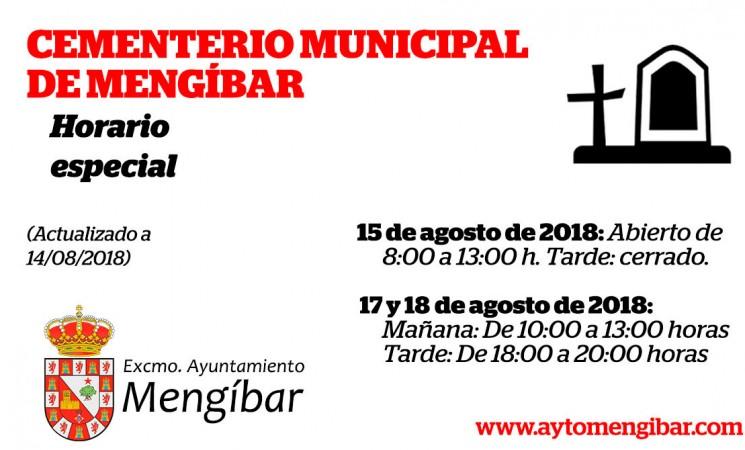 Horario especial del Cementerio de Mengíbar durante los días 15, 17 y 18 de agosto de 2018