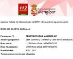 Alerta naranja por calor en Mengíbar, con máximas de 40-42º, este viernes y sábado
