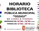 Horario de la Biblioteca Municipal Ossigi de Mengíbar para el nuevo curso escolar