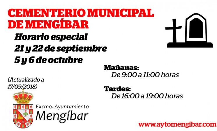 Horario especial del Cementerio de Mengíbar el 21 y 22 de septiembre y 5 y 6 de octubre