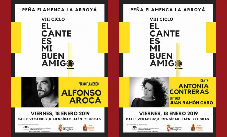 Alfonso Aroca, Antonia Contreras y Juan Ramón Caro actuarán en La Arroyá de Mengíbar este viernes