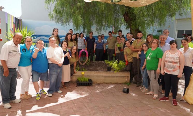 La Escuela Taller La Torre y usuarios del Centro Ocupacional de Mengíbar montan un huerto ecológico