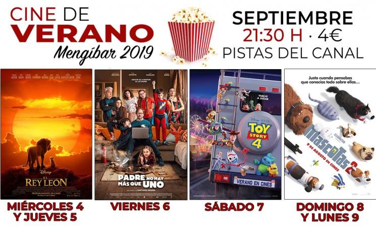 Películas de estreno en el nuevo Cine de Verano de Mengíbar en septiembre de 2019