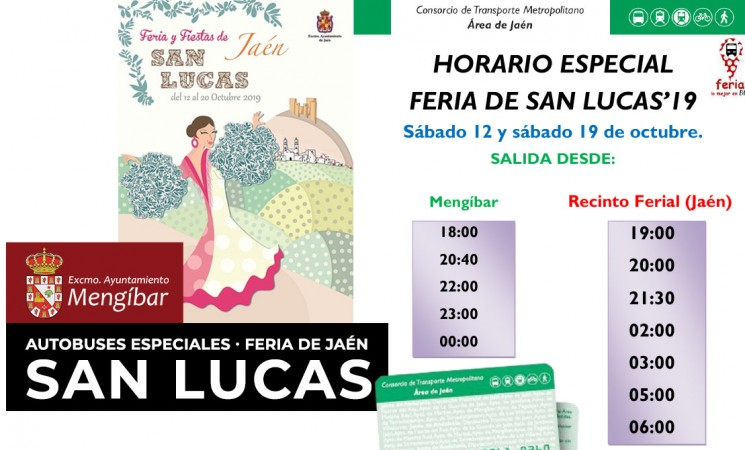 Autobuses especiales para la Feria de San Lucas 2019 desde Mengíbar