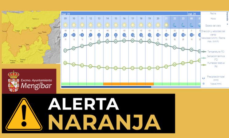 Alerta naranja por altas temperaturas en Mengíbar este martes 23 de junio de 2020 y alerta amarilla para mañana, miércoles 24