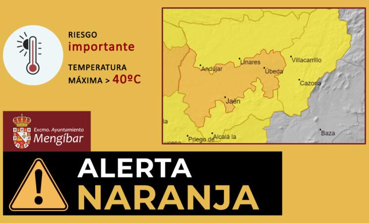 Aviso naranja por altas temperaturas de 40º en Mengíbar hoy, lunes 20, y mañana, martes 21 de julio de 2020