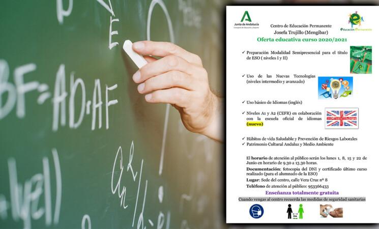 El Centro de Adultos de Mengíbar abre su plazo de admisión (disponible hasta el 15 de junio)