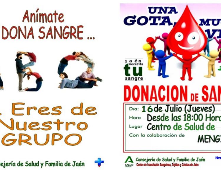 Donación de sangre en el Centro de Salud de Mengíbar el próximo 16 de julio de 2020