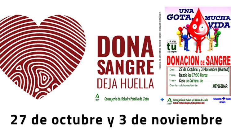 Donación de sangre en la Casa de la Cultura de Mengíbar, los días 27 de octubre y 3 de noviembre