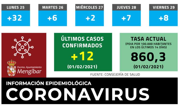 Coronavirus: 12 casos más de COVID-19 en Mengíbar (01/02/2021)