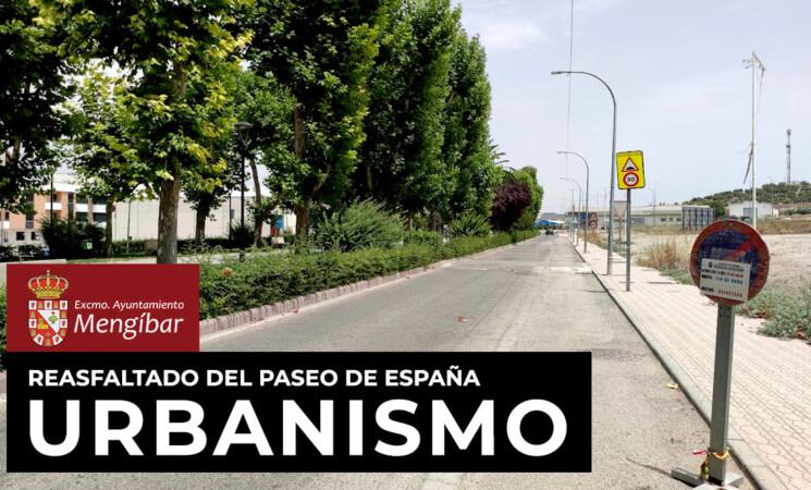 El Ayuntamiento de Mengíbar informa del reasfaltado del Paseo de España, a partir del 26 de julio de 2021
