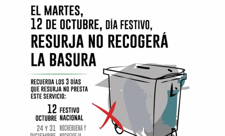 Sin recogida de basura este 12 de Octubre, Día de la Hispanidad